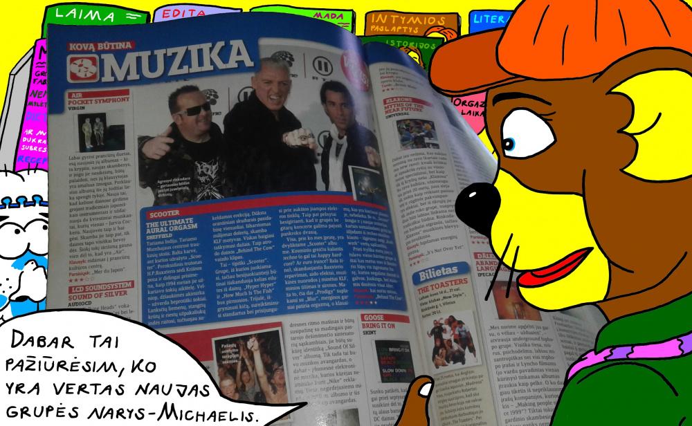 """Nycietis Džerijus parduotuvėje skaito žurnale apie grupės """"Scooter"""" išleistą naują albumą"""