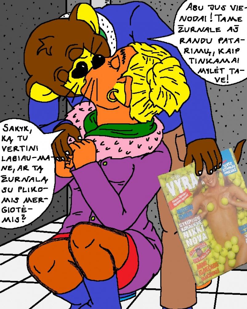 Nycietis Džerijus Peliukas su savo panele bučiuojasi prie autobusų stoties