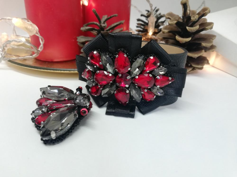 Odinė apyrankė puošta kristalais juoda raudona