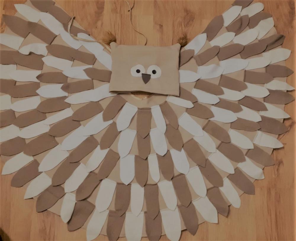 Pelėdos, paukščio vaikiškas karnavalinis kostiumas