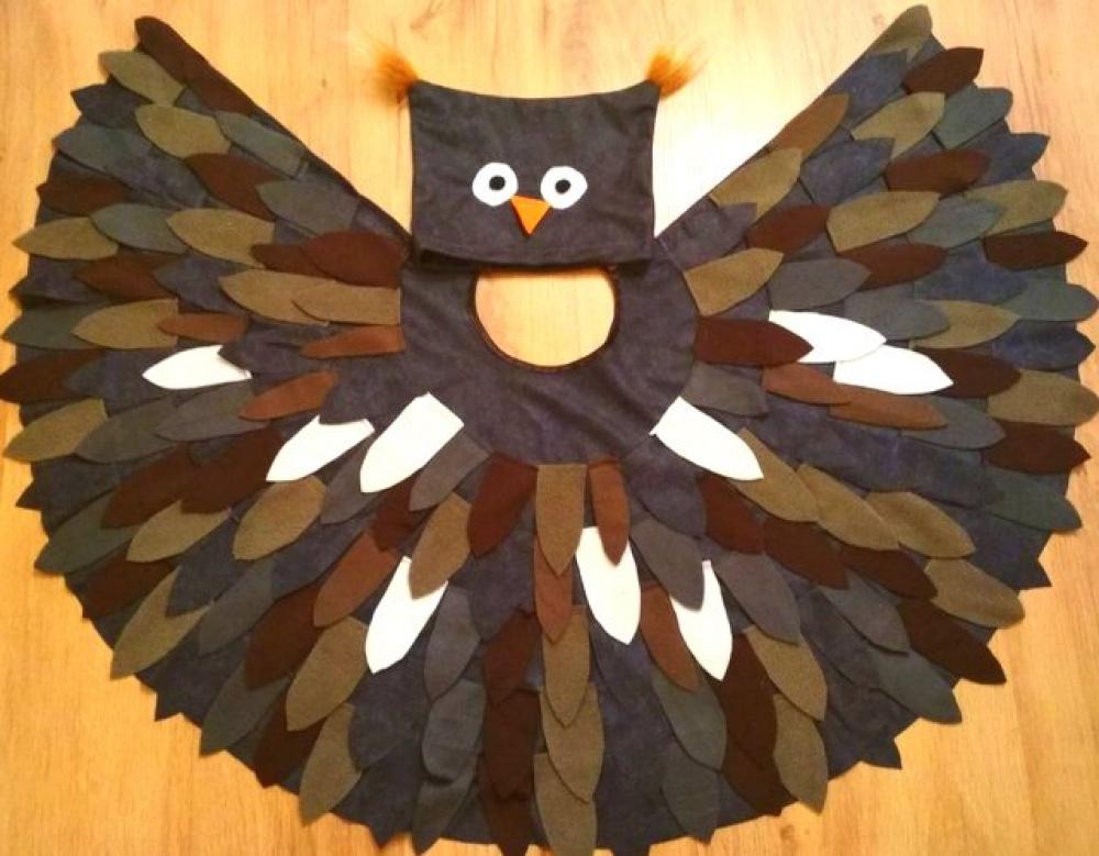 Pelėdos, pelėdžiuko, paukščio, paukščiuko vaikiškas karnavalinis kostiumas