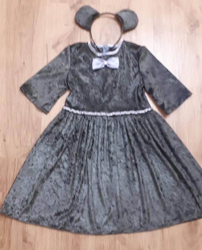 Pilkos pelytės karnavalinis  kostiumas mergaitei
