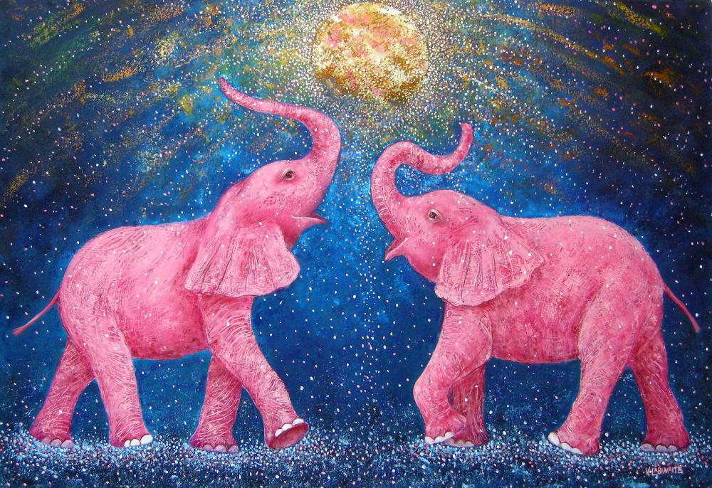 Rožiniai drambliai 110x75
