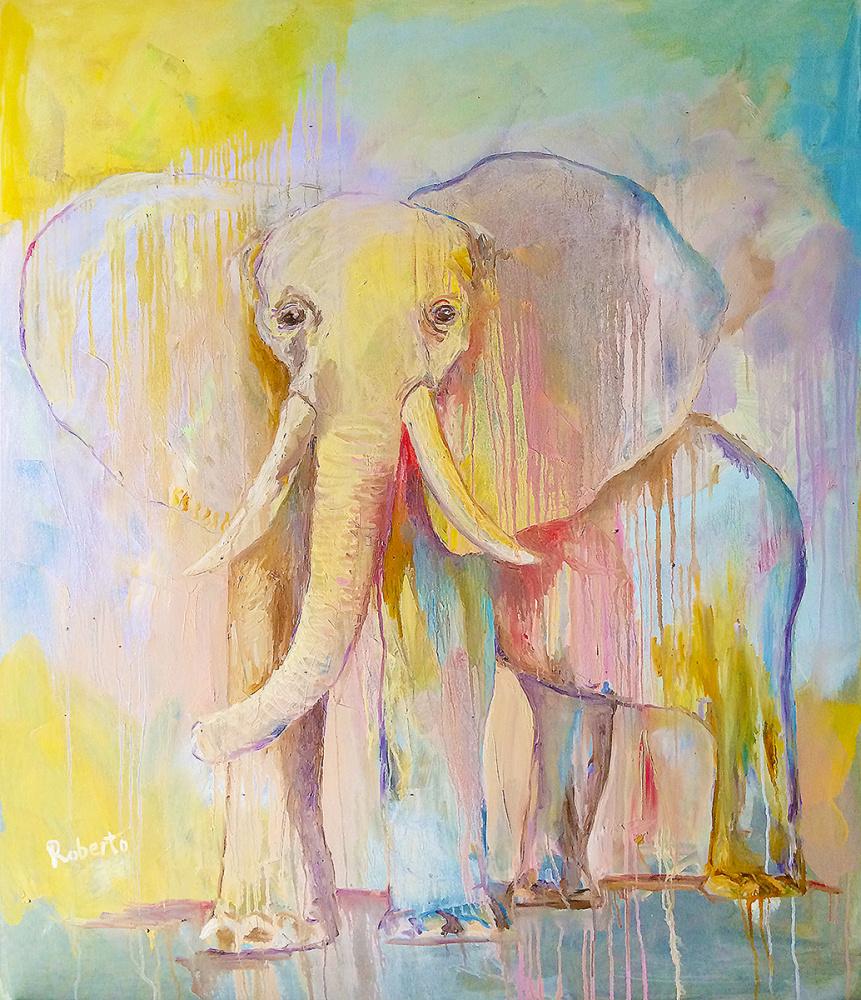 Saulėtas dramblys, 95x120, drobė, aliejus, 2019m, Robertas Kasperovičius