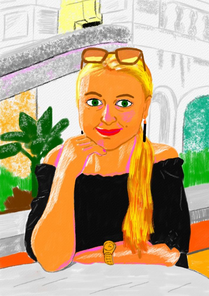 Simpatiškos jaunos merginos Adelės antras portretas