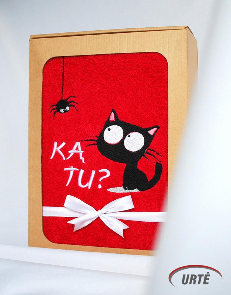 Siuvinėtas rankšluostis kačių mylėtojai ar mylėtojui - KĄ TU?