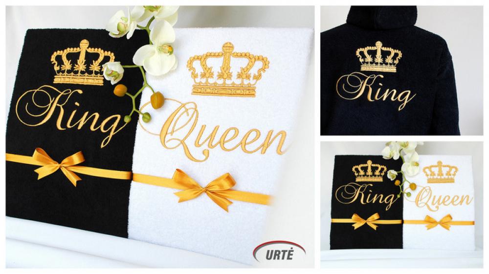 Siuvinėti chalatai porai - King ir Queen