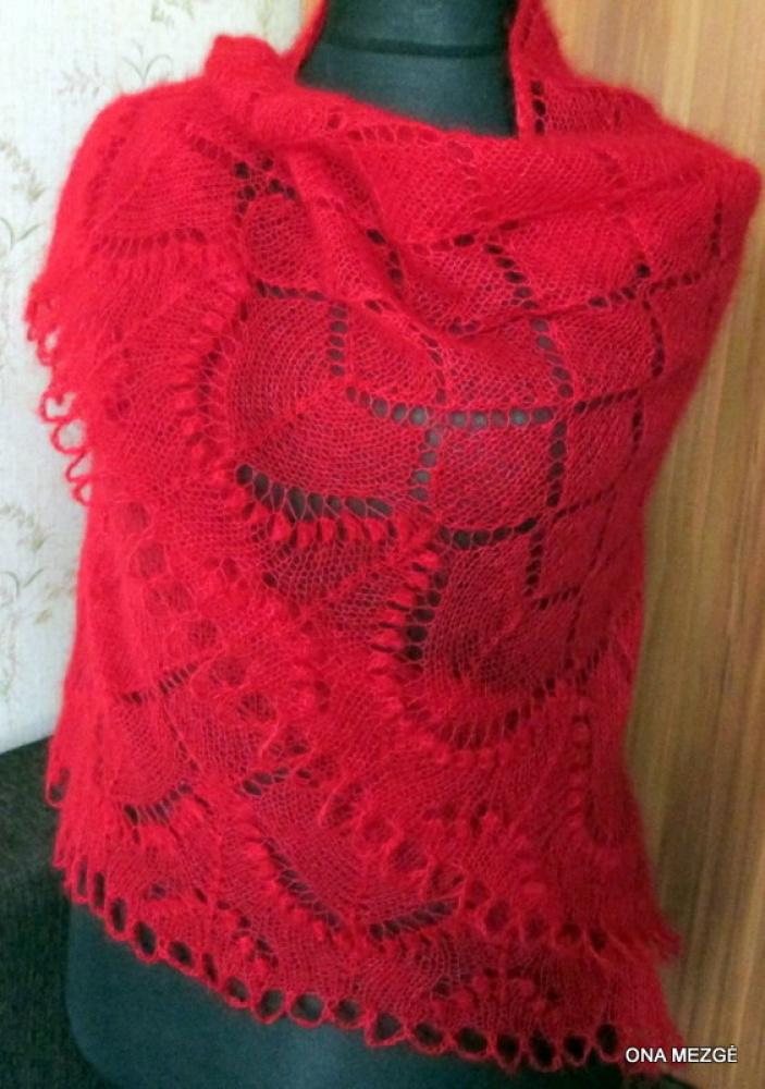 Skara - skraistė raudona megzta virbalais