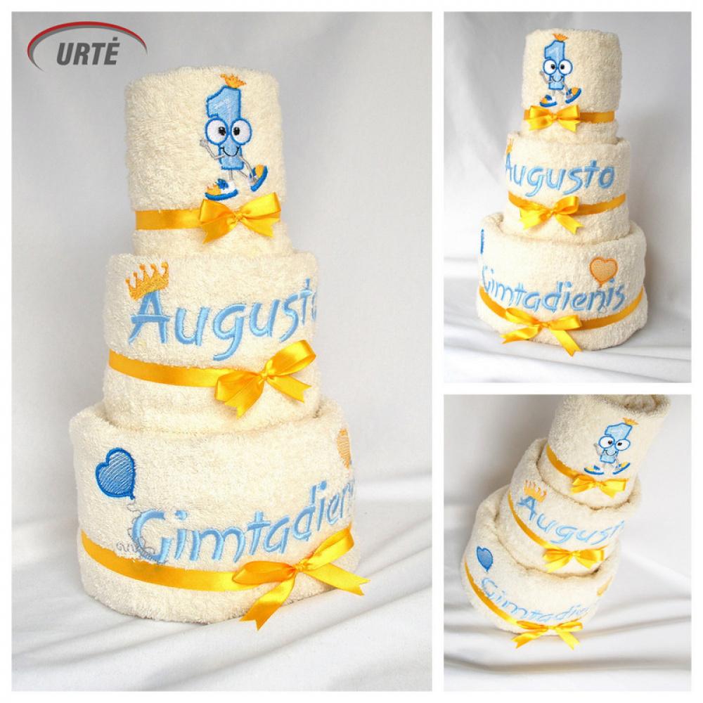 """Tortas iš rankšluosčių """"Gimtadienio tortas"""" - pirmajam gimtadieniui"""