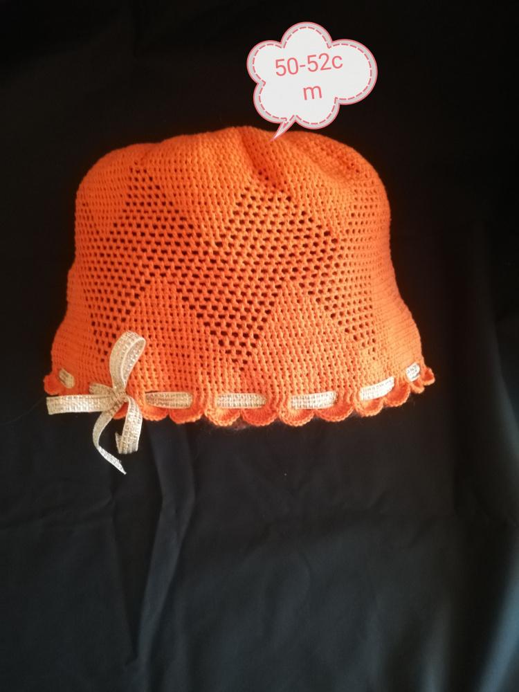 Vaikiška vasarinė kepuraitė oranžinė