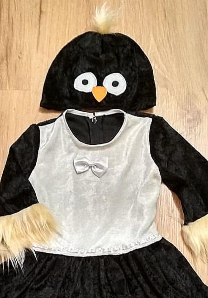 Vaikiškas karnavalinis pingvinukės kostiumas mergaitei