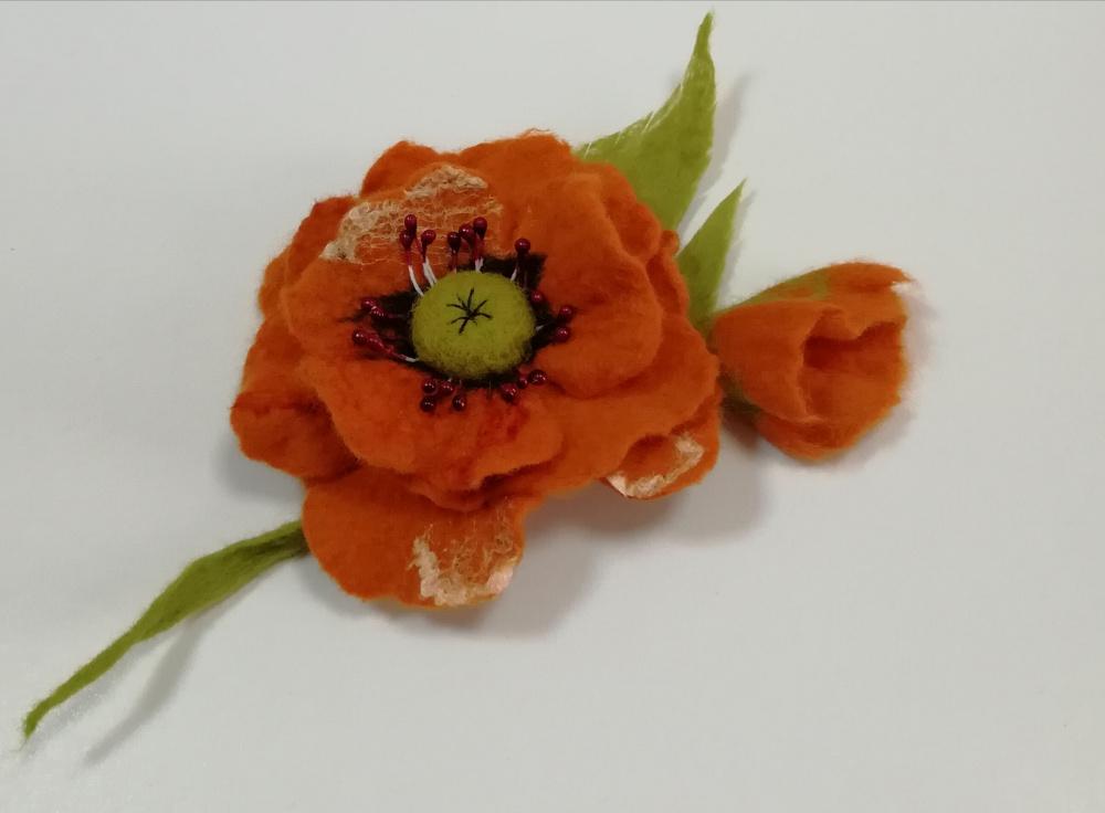 """Velta gėlė """" Oranžinė aguona"""""""