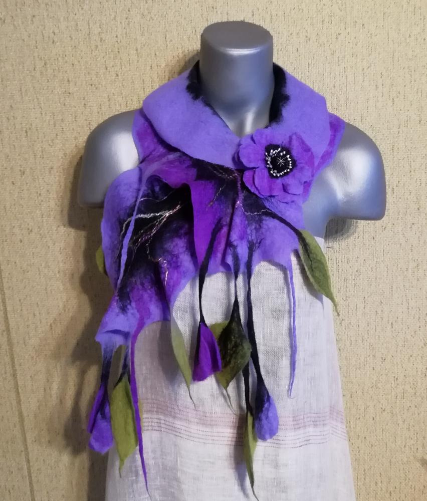 Veltas šalikas su sage alyvinės-violetinės spalvų