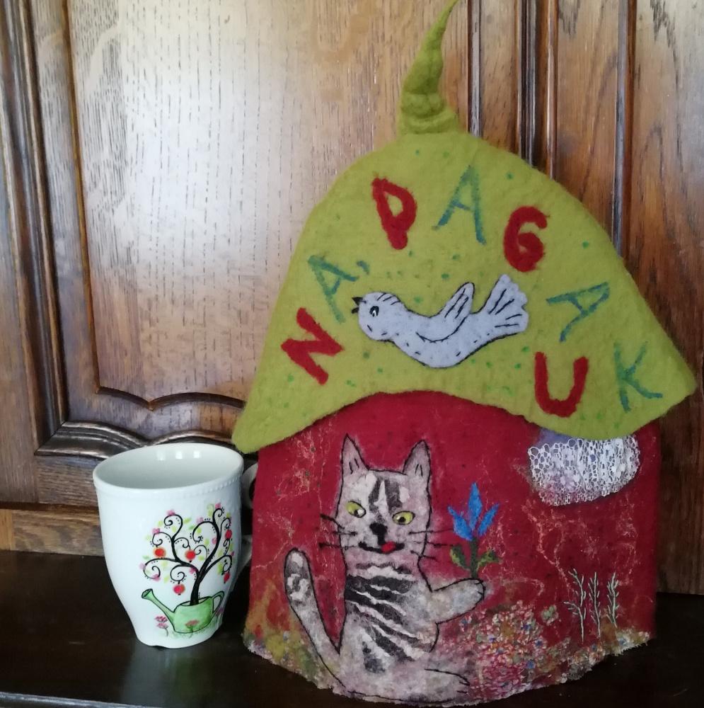 """Veltas šildukas arbatinukui - puodeliui""""Na pagauk """""""