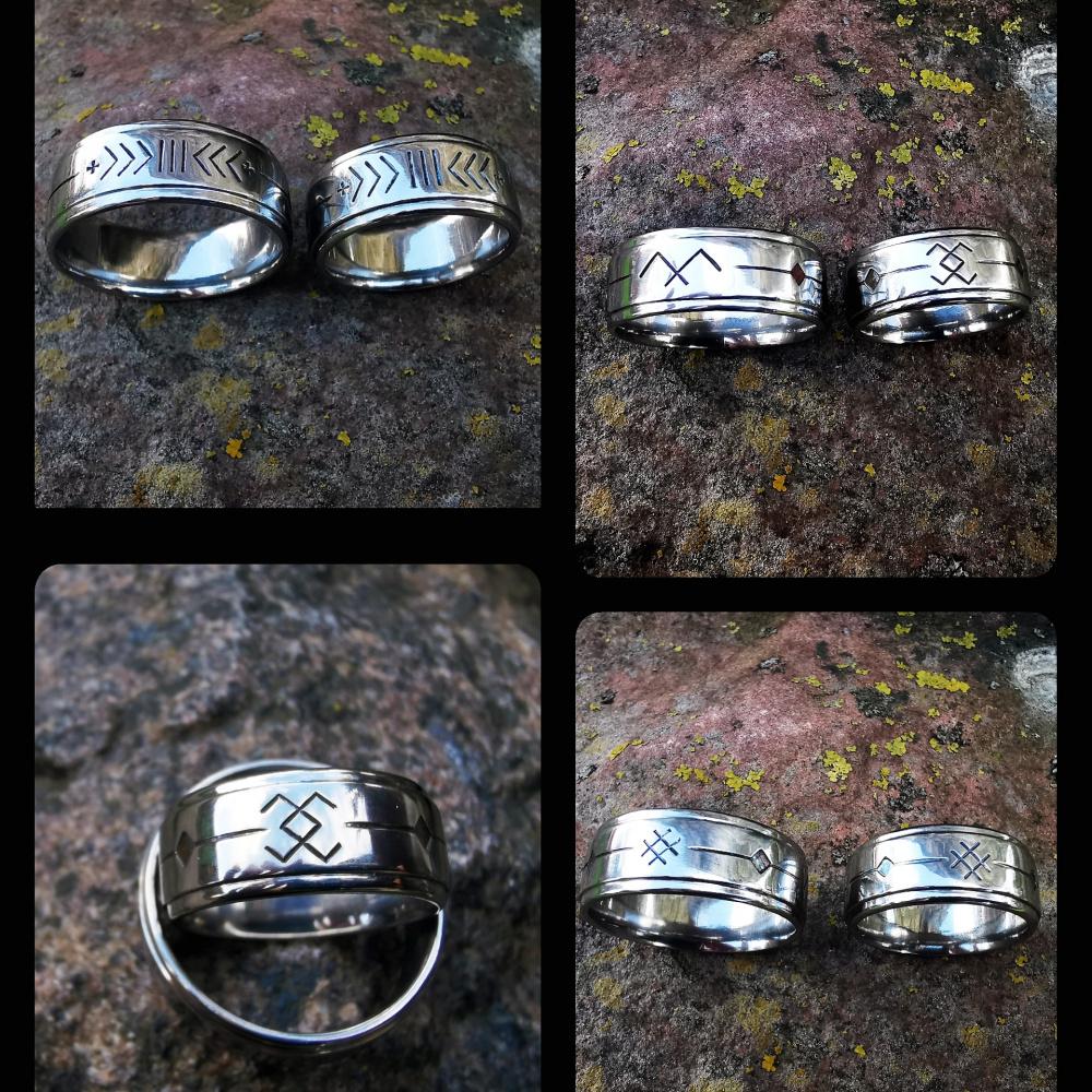 Vestuviniai žiedai nerūdijančio plieno su bališkais simboliais