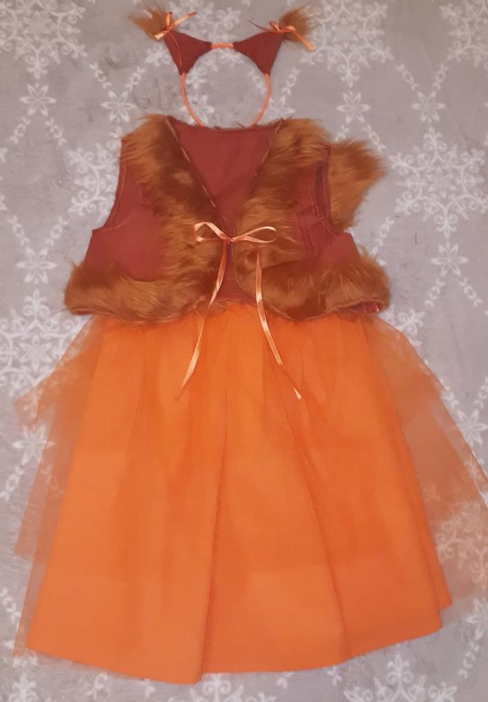 Voveraitės, voverės karnavalinis kostiumas mergaitei (sijonas +liemenė)