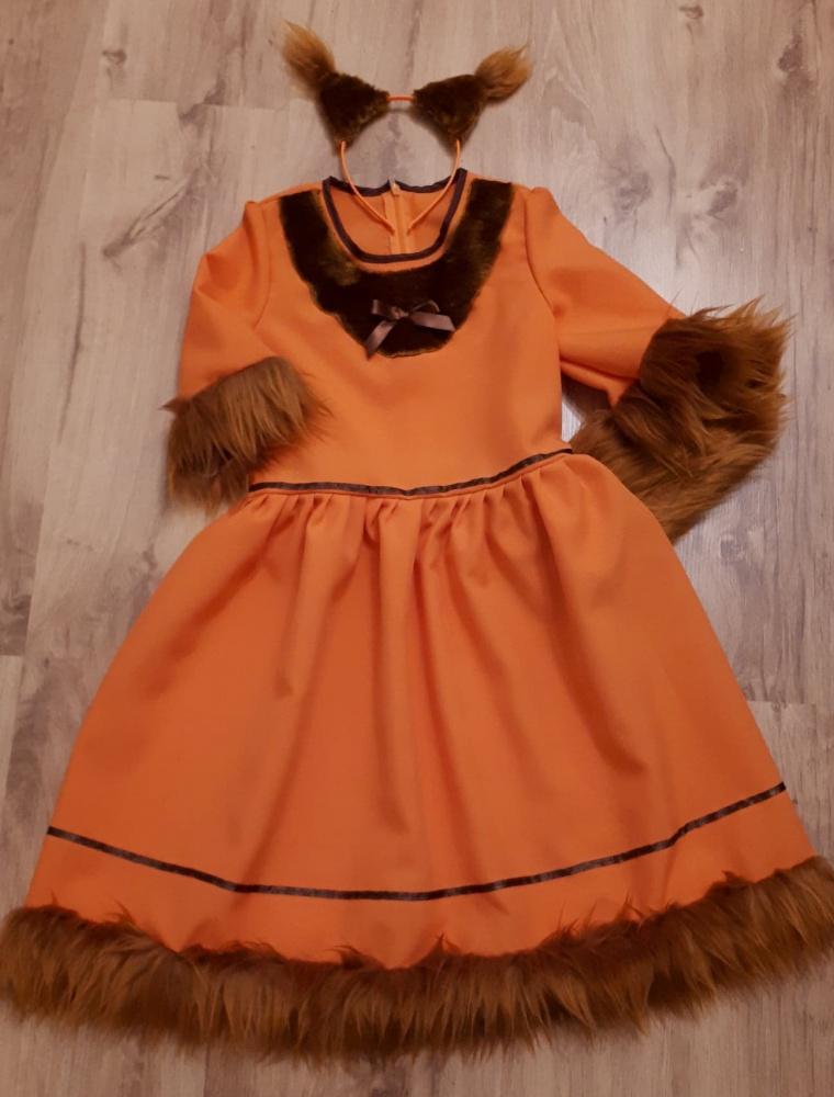 Voveraitės, voverės karnavalinis kostiumas mergaitei su kailiuku