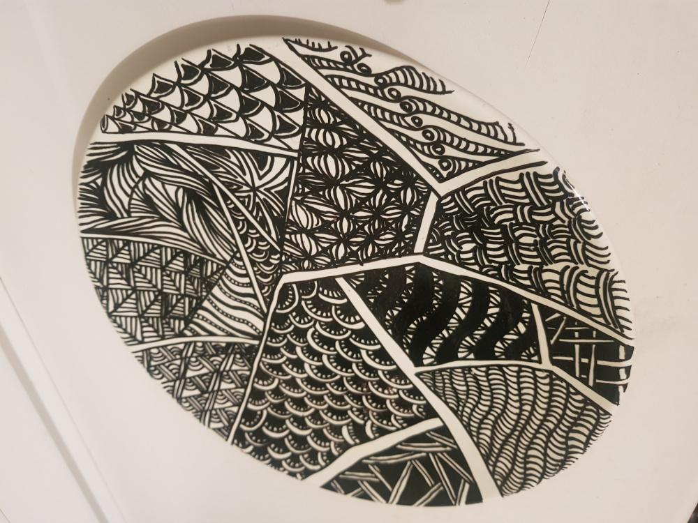 Zentangle dizaino lekste juoda balta