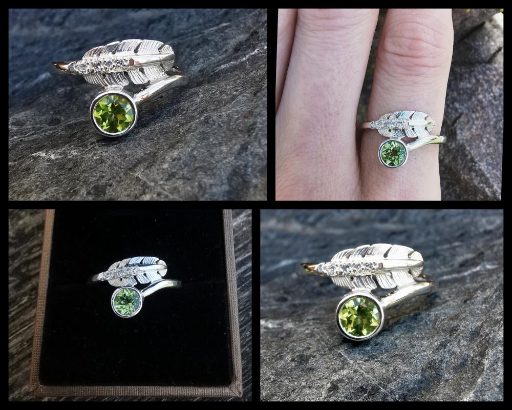 Žiedas plunksna su peridotu