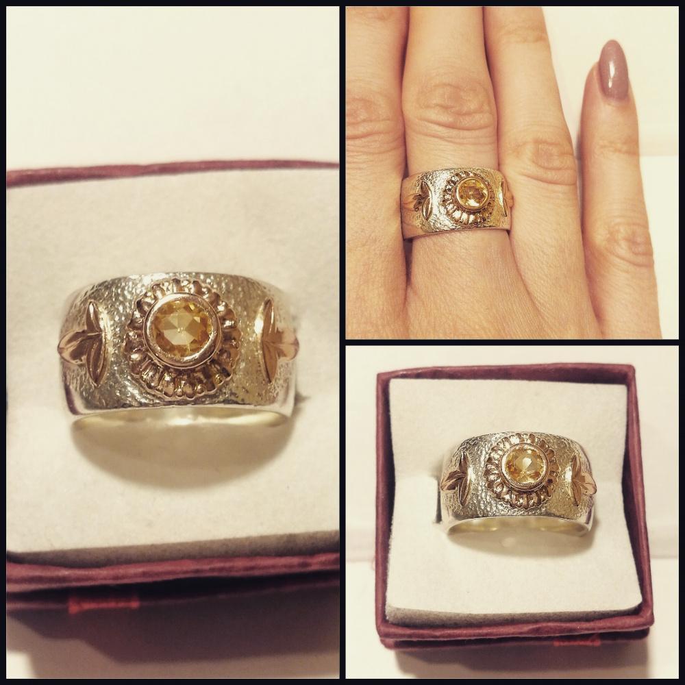 Žiedas su citrinu ir auksu
