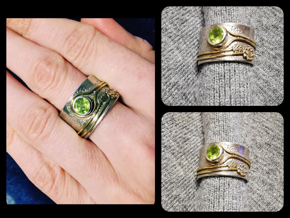 Žiedas su peridotu ir žalvario gelyte
