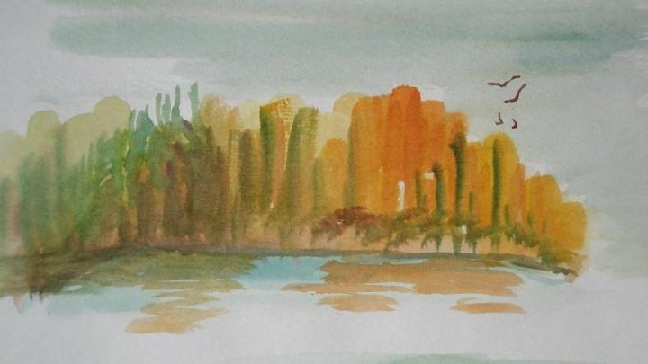 ruduo prie ežero...