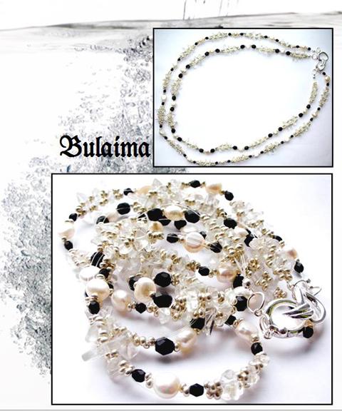 Perlų, krištolo ir agatų vėrinys