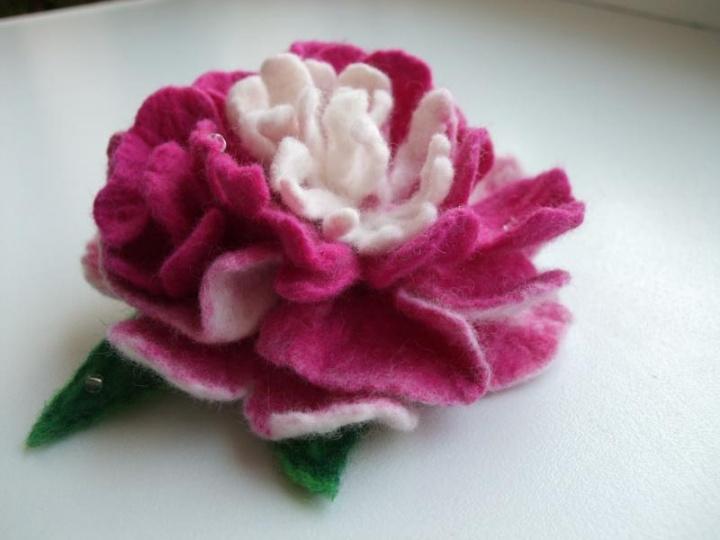 Розово белый пион