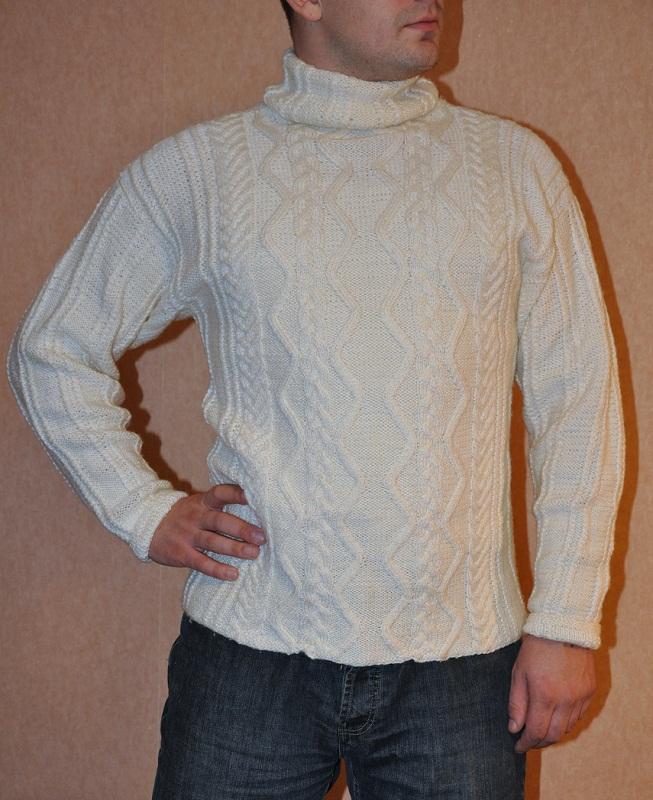 Baltas vyriškas megztinis