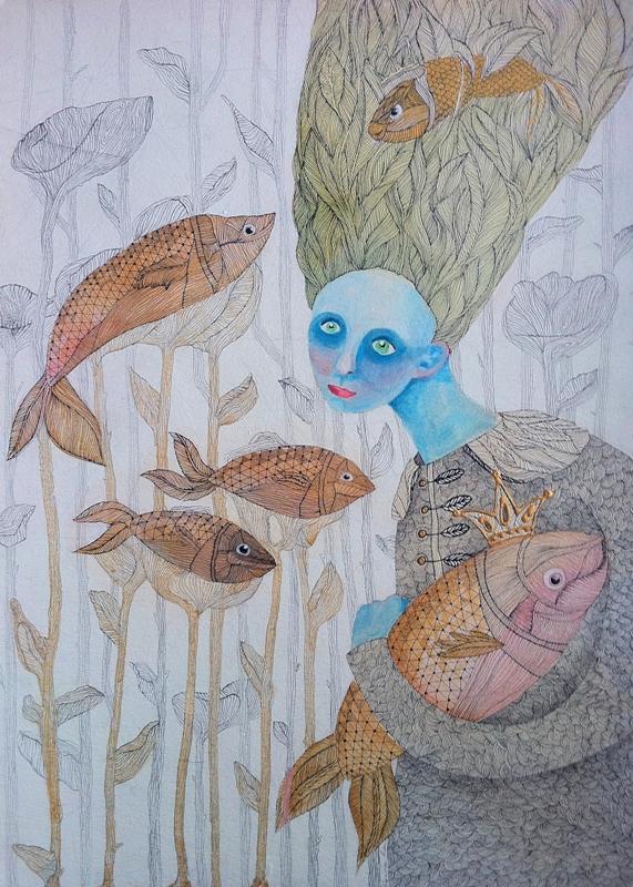 mėlynveidė su žuvim