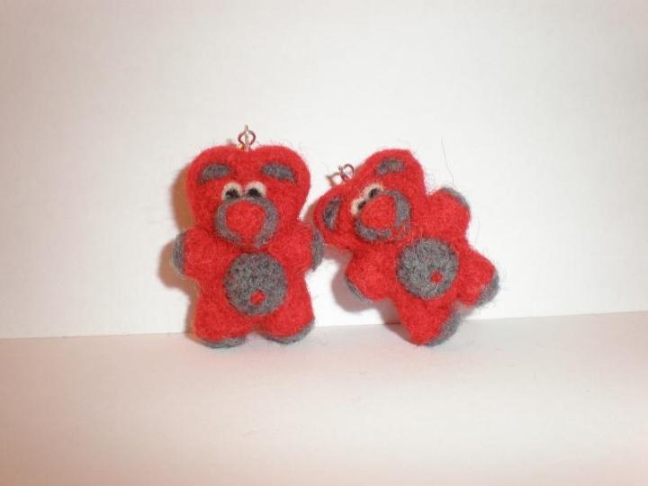 Raudoni meškiukai - auskarai